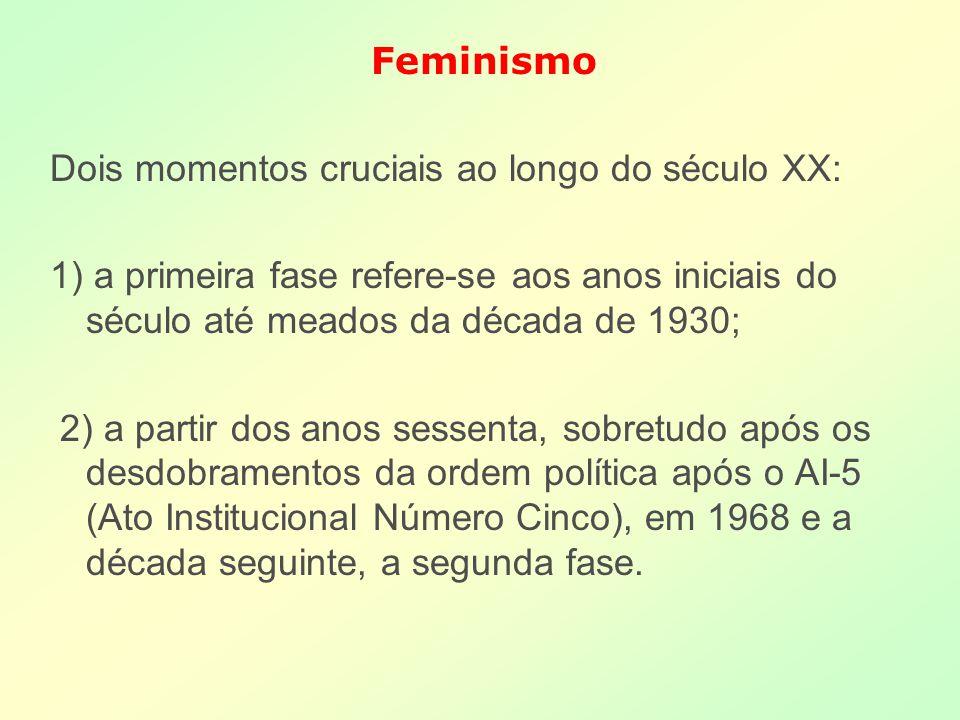 Feminismo Dois momentos cruciais ao longo do século XX: 1) a primeira fase refere-se aos anos iniciais do século até meados da década de 1930; 2) a pa