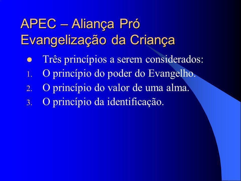 APEC – Aliança Pró Evangelização da Criança Três princípios a serem considerados: 1. O princípio do poder do Evangelho. 2. O princípio do valor de uma