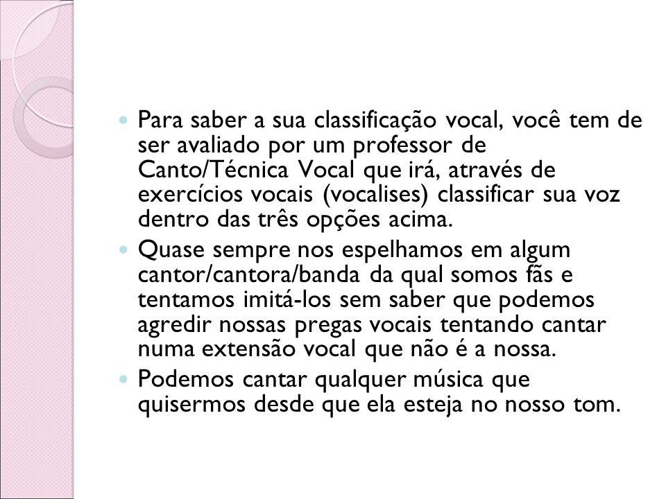 Para saber a sua classificação vocal, você tem de ser avaliado por um professor de Canto/Técnica Vocal que irá, através de exercícios vocais (vocalise