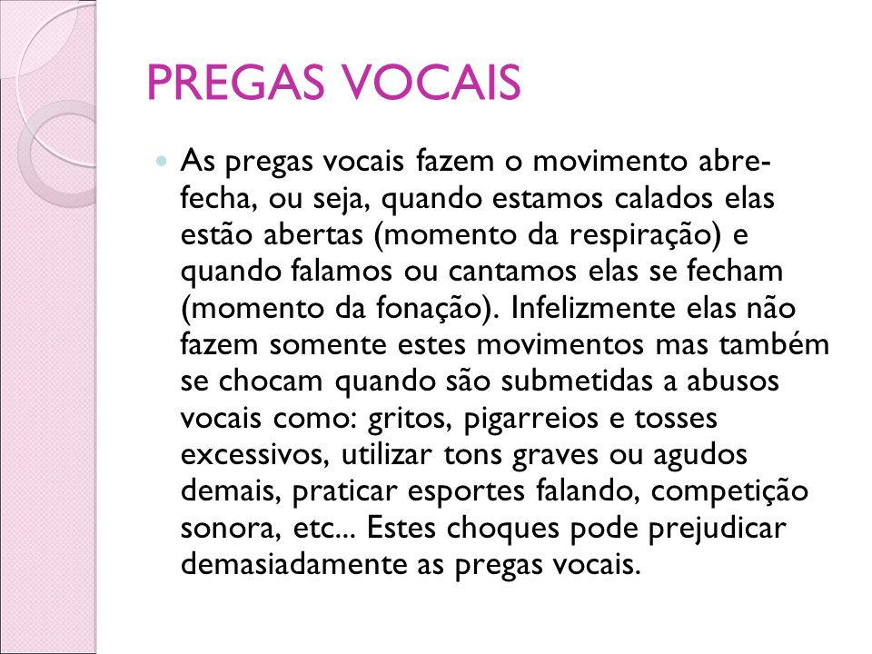 PREGAS VOCAIS As pregas vocais fazem o movimento abre- fecha, ou seja, quando estamos calados elas estão abertas (momento da respiração) e quando fala