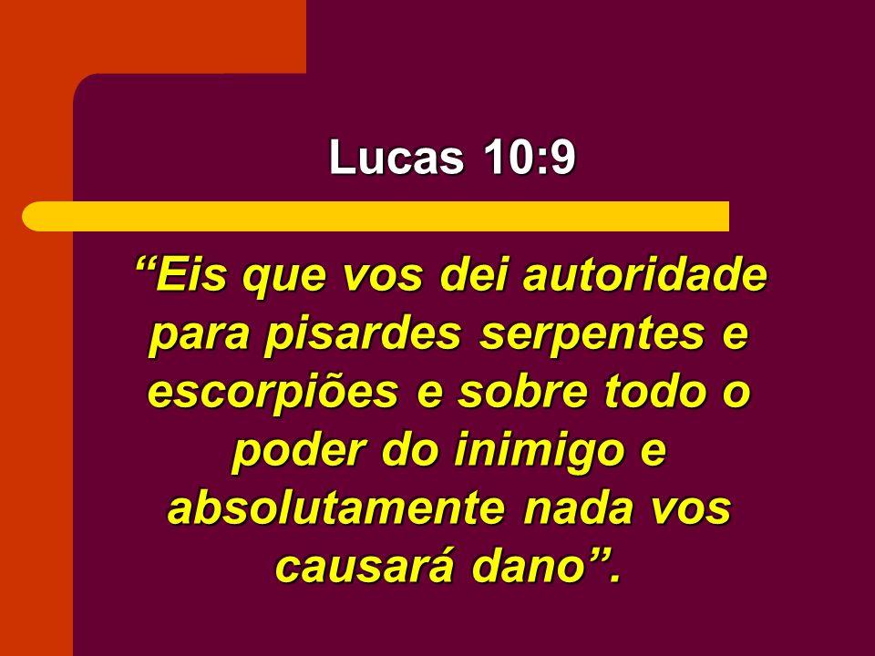 Eis que vos dei autoridade para pisardes serpentes e escorpiões e sobre todo o poder do inimigo e absolutamente nada vos causará dano. Lucas 10:9