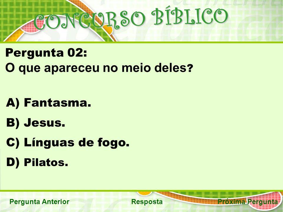 CONCURSO BÍBLICO Pergunta AnteriorRespostaPróxima Pergunta Pergunta 02: O que apareceu no meio deles ? A) Fantasma. B) Jesus. C) Línguas de fogo. D) P