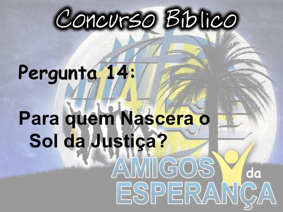 Pergunta 14: Para quem Nascera o Sol da Justiça?
