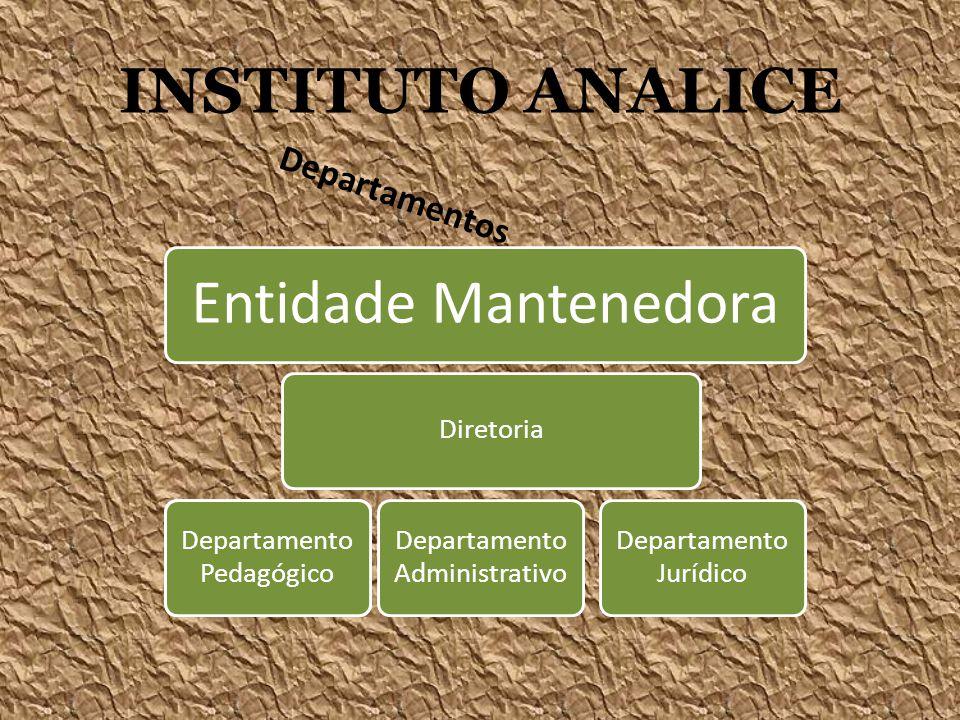 INSTITUTO ANALICE Departamentos Entidade Mantenedora Diretoria Departamento Pedagógico Departamento Administrativo Departamento Pedagógico Departament