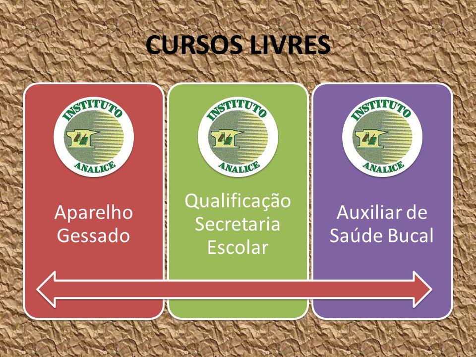 CURSOS LIVRES Aparelho Gessado Qualificação Secretaria Escolar Auxiliar de Saúde Bucal