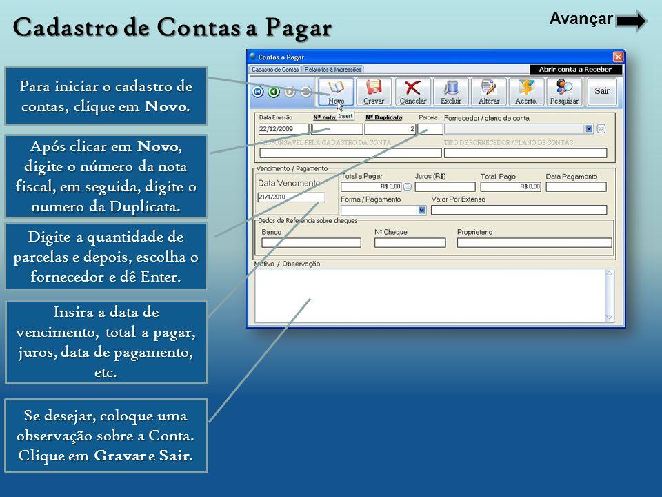 Em relatórios, Escolha os filtros para Localizar as Contas a serem Impressas.