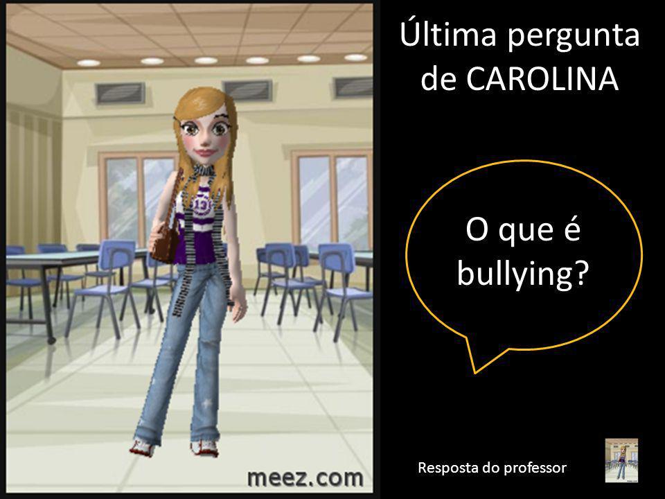 Bullying é uma situação que se caracteriza por agressões intencionais, verbais ou físicas, feitas de maneira repetitiva, por um ou mais alunos contra um ou mais colegas.