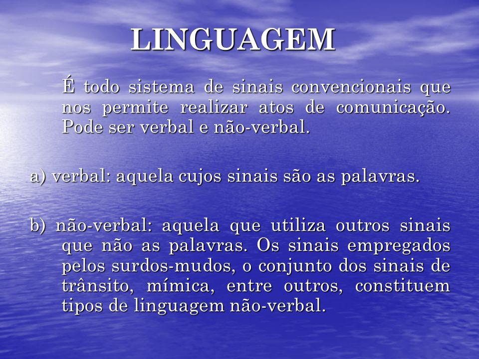 LINGUAGEM É todo sistema de sinais convencionais que nos permite realizar atos de comunicação. Pode ser verbal e não-verbal. a) verbal: aquela cujos s