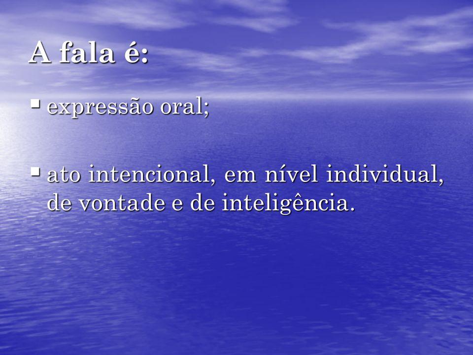 A fala é: expressão oral; expressão oral; ato intencional, em nível individual, de vontade e de inteligência. ato intencional, em nível individual, de
