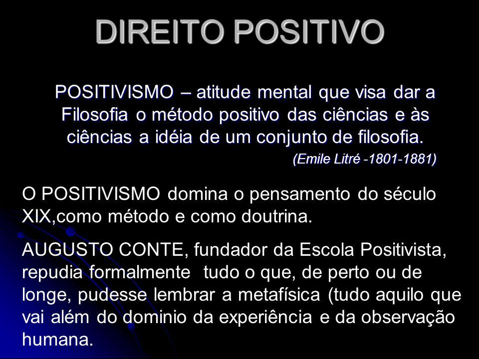 DIREITO POSITIVO POSITIVISMO – atitude mental que visa dar a Filosofia o método positivo das ciências e às ciências a idéia de um conjunto de filosofi