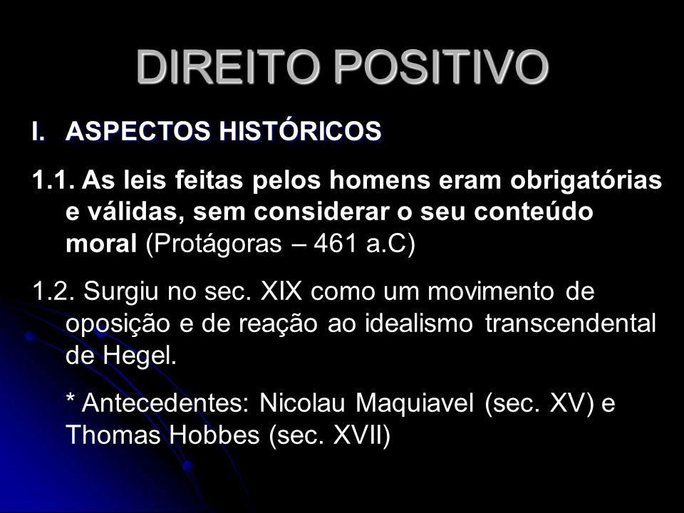 DIREITO POSITIVO I.ASPECTOS HISTÓRICOS 1.1. As leis feitas pelos homens eram obrigatórias e válidas, sem considerar o seu conteúdo moral (Protágoras –