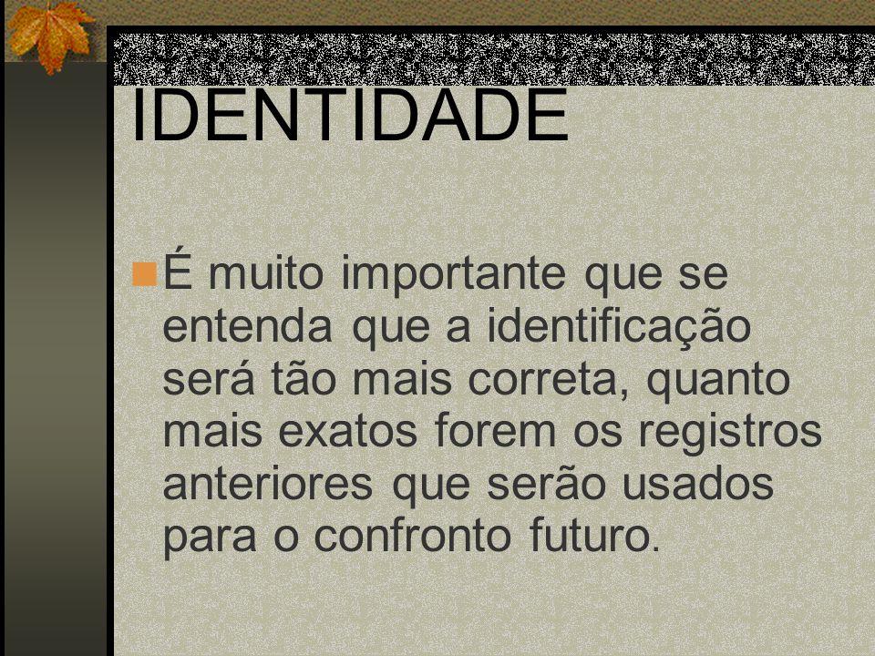 IDENTIDADE É muito importante que se entenda que a identificação será tão mais correta, quanto mais exatos forem os registros anteriores que serão usa