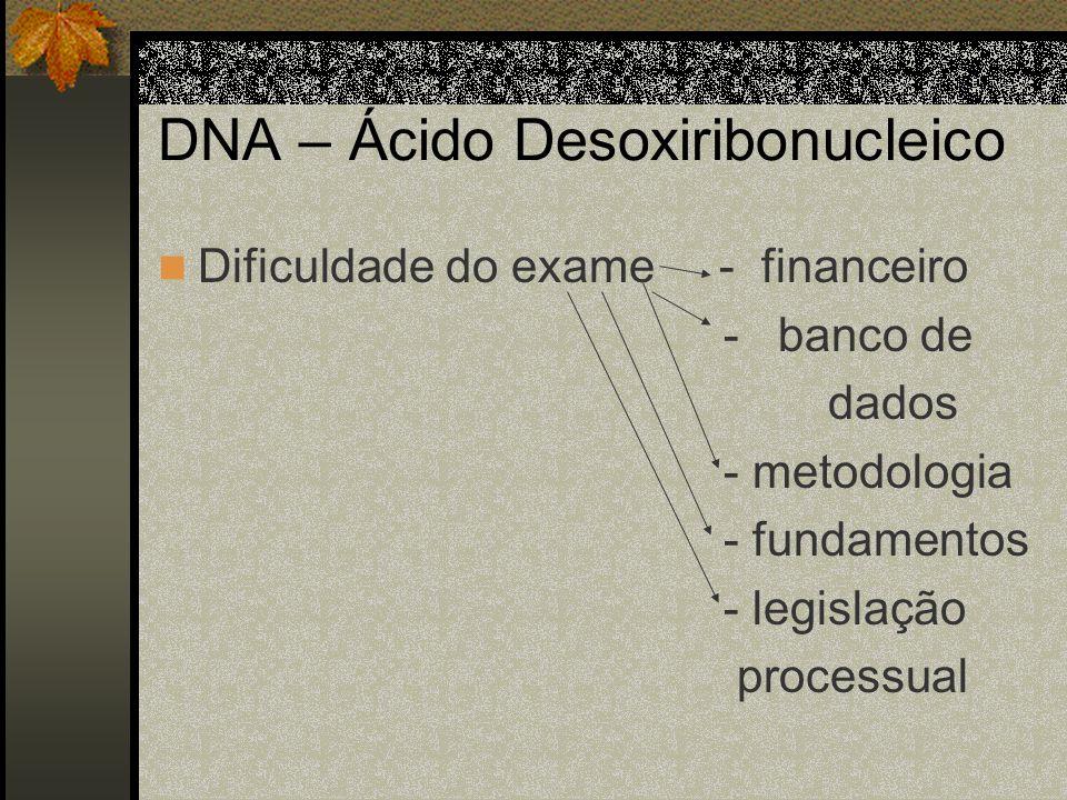 DNA – Ácido Desoxiribonucleico Dificuldade do exame - financeiro - banco de dados - metodologia - fundamentos - legislação processual