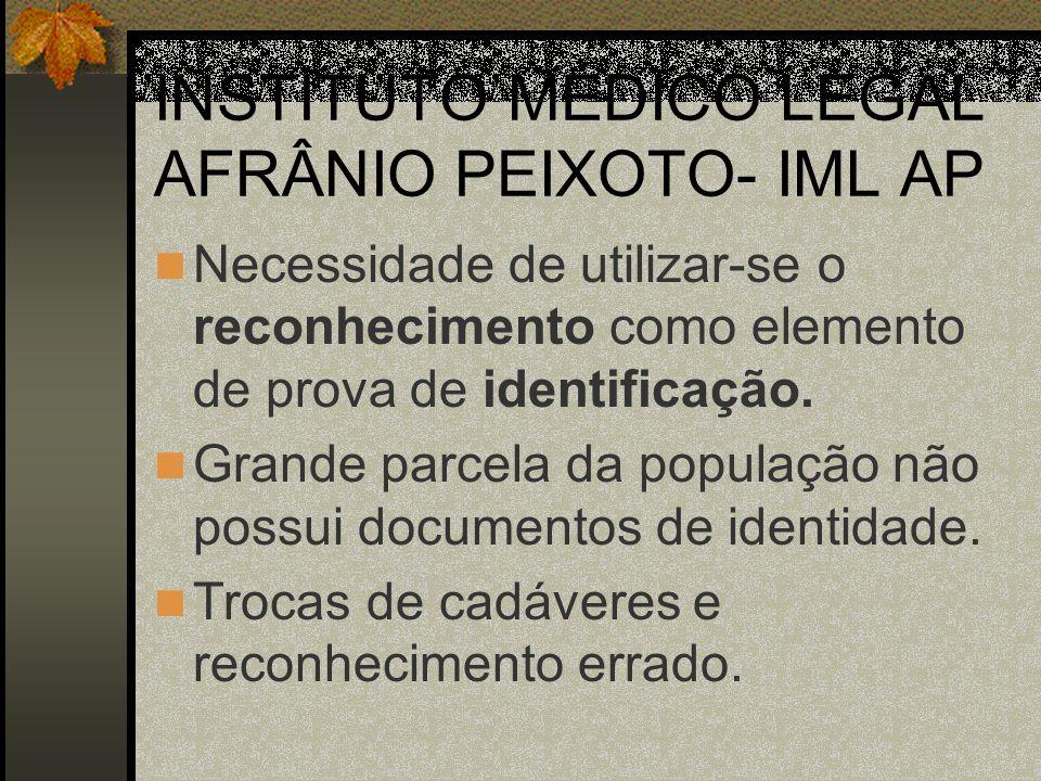INSTITUTO MÉDICO LEGAL AFRÂNIO PEIXOTO- IML AP Necessidade de utilizar-se o reconhecimento como elemento de prova de identificação. Grande parcela da