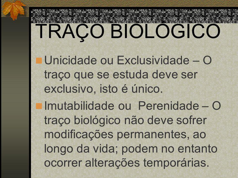 TRAÇO BIOLÓGICO Classificabilidade- que os resultados obtidos possam ser classificados.
