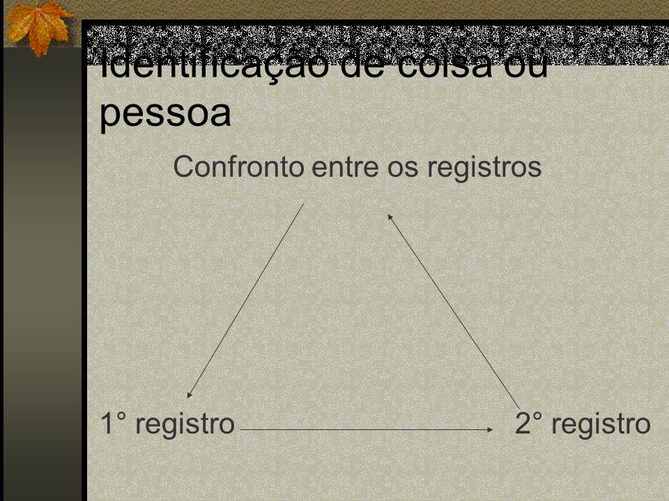 Identificação de coisa ou pessoa Confronto entre os registros 1° registro 2° registro