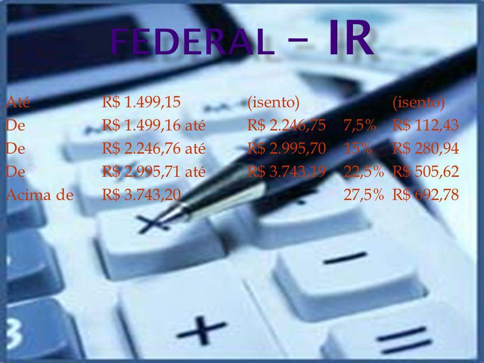 Até R$ 1.499,15(isento)(isento) DeR$ 1.499,16 até R$ 2.246,757,5%R$ 112,43 De R$ 2.246,76 até R$ 2.995,7015%R$ 280,94 De R$ 2.995,71 até R$ 3.743,1922,5%R$ 505,62 Acima de R$ 3.743,2027,5%R$ 692,78