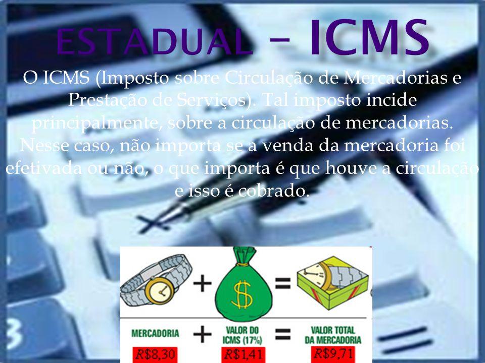 O ICMS (Imposto sobre Circulação de Mercadorias e Prestação de Serviços).