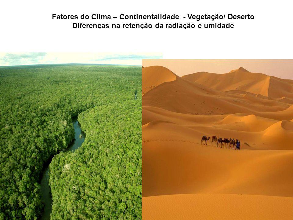 Fatores do Clima – Continentalidade - Vegetação/ Deserto Diferenças na retenção da radiação e umidade