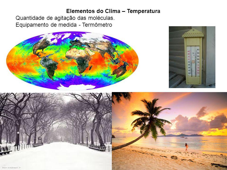Elementos do Clima – Temperatura Quantidade de agitação das moléculas. Equipamento de medida - Termômetro