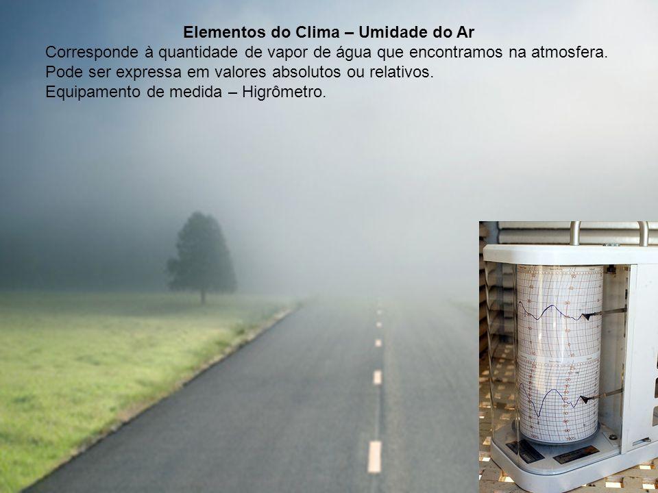 Elementos do Clima – Umidade do Ar Corresponde à quantidade de vapor de água que encontramos na atmosfera. Pode ser expressa em valores absolutos ou r