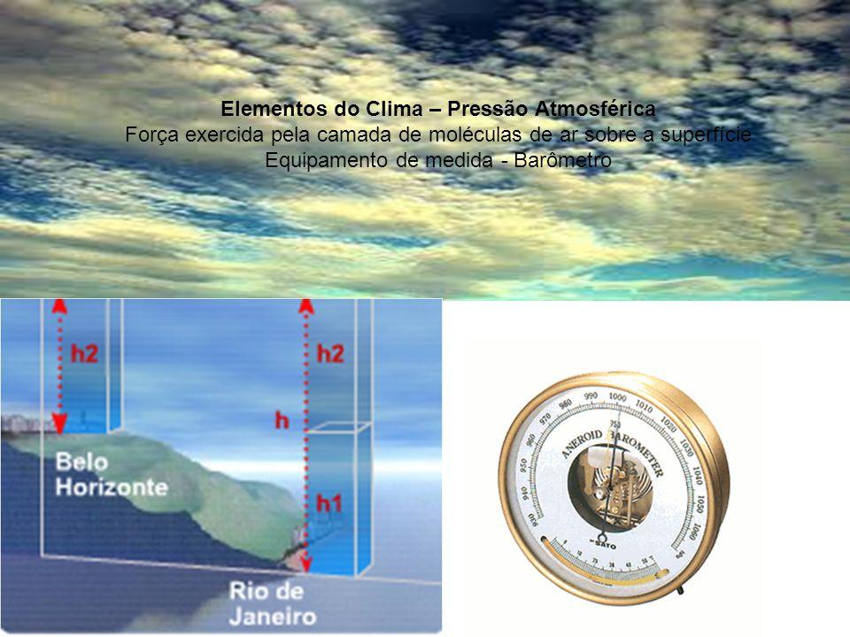 Elementos do Clima – Pressão Atmosférica Força exercida pela camada de moléculas de ar sobre a superfície Equipamento de medida - Barômetro