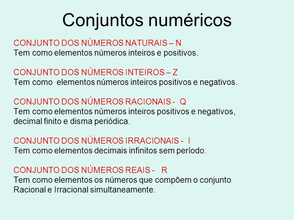 Conjuntos numéricos CONJUNTO DOS NÚMEROS NATURAIS – N Tem como elementos números inteiros e positivos. CONJUNTO DOS NÚMEROS INTEIROS – Z Tem como elem