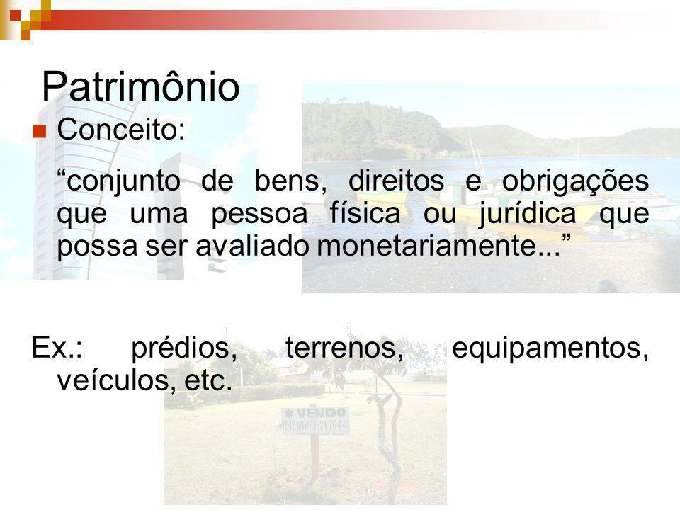 Patrimônio Conceito: conjunto de bens, direitos e obrigações que uma pessoa física ou jurídica que possa ser avaliado monetariamente... Ex.: prédios,