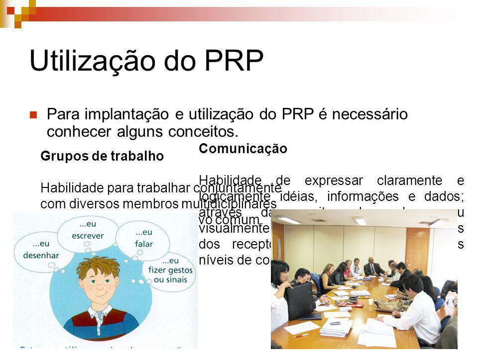 Utilização do PRP Para implantação e utilização do PRP é necessário conhecer alguns conceitos. Grupos de trabalho Habilidade para trabalhar conjuntame