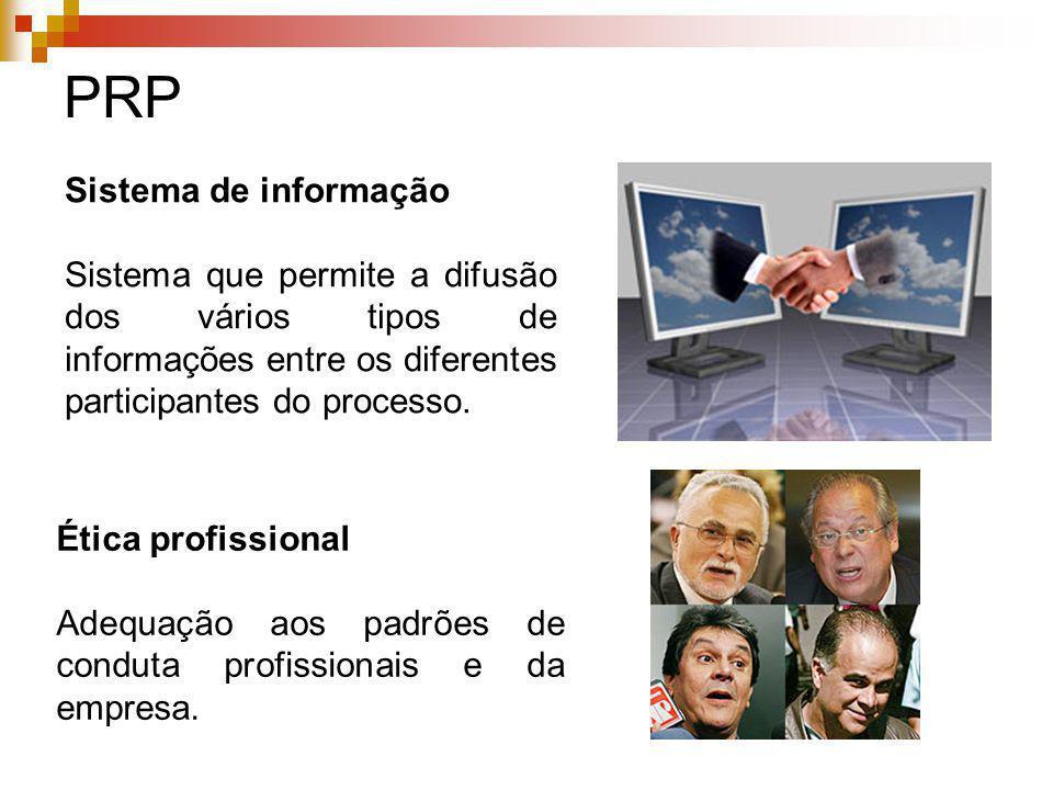 Sistema de informação Sistema que permite a difusão dos vários tipos de informações entre os diferentes participantes do processo. PRP Ética profissio
