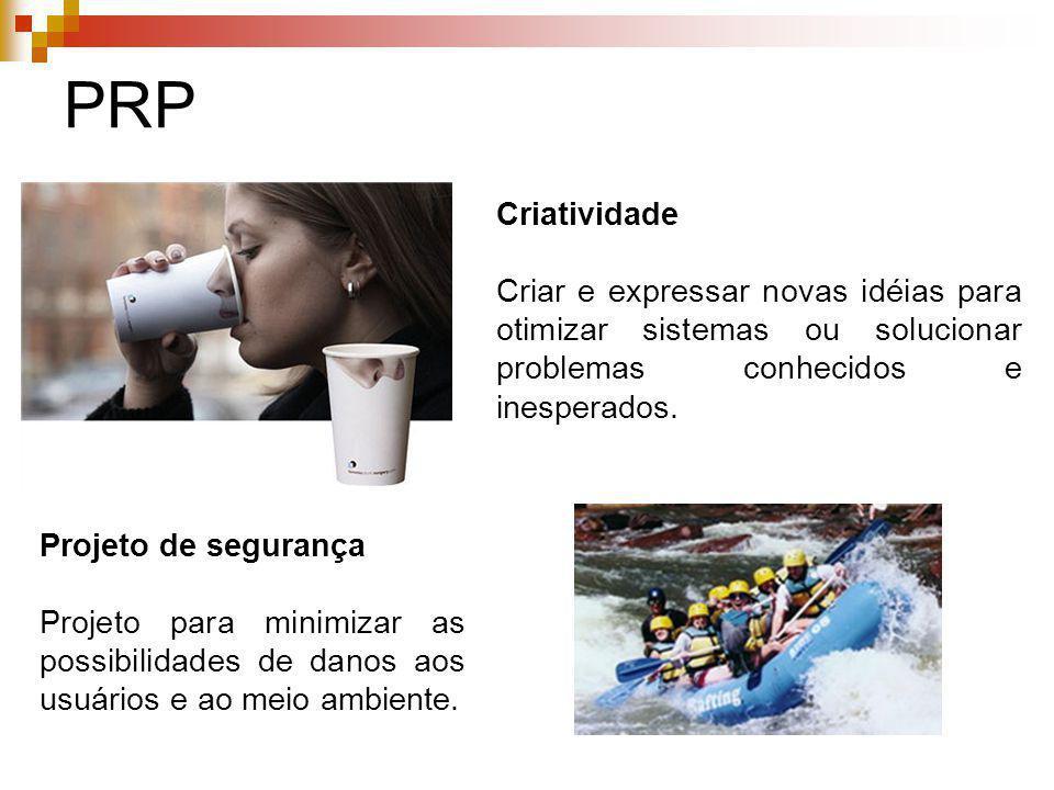 PRP Criatividade Criar e expressar novas idéias para otimizar sistemas ou solucionar problemas conhecidos e inesperados. Projeto de segurança Projeto