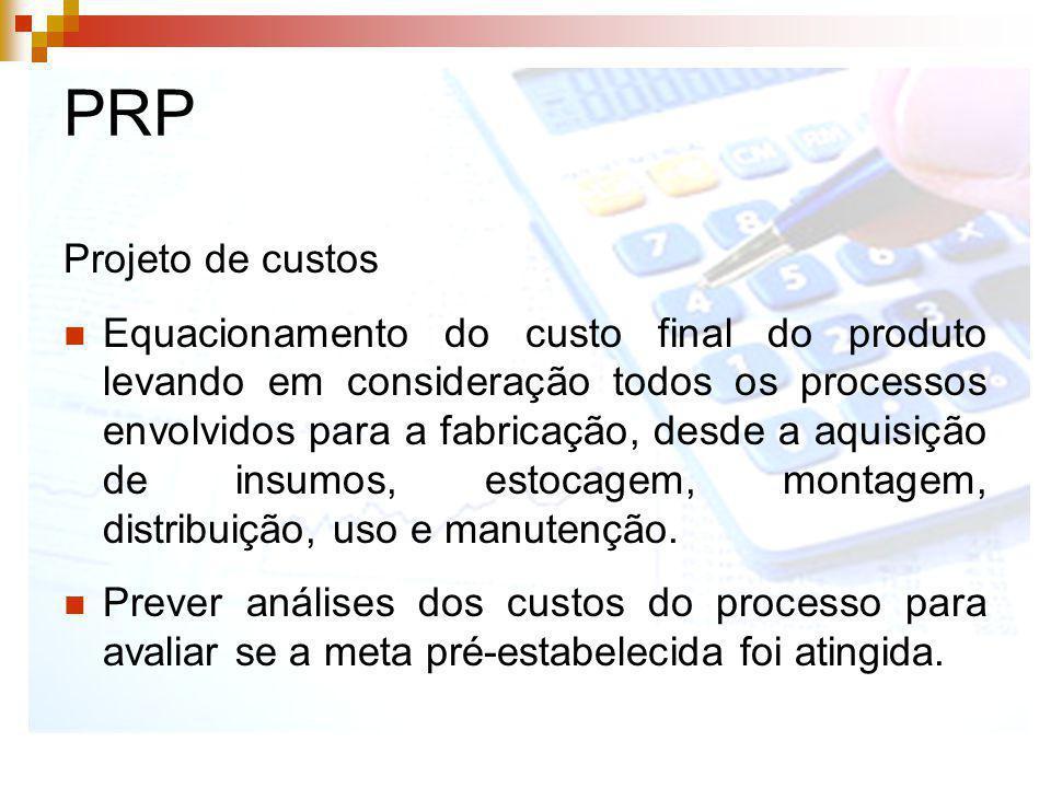 PRP Projeto de custos Equacionamento do custo final do produto levando em consideração todos os processos envolvidos para a fabricação, desde a aquisi