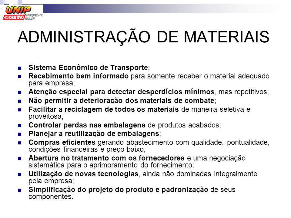 ADMINISTRAÇÃO DE MATERIAIS Sistema Econômico de Transporte; Recebimento bem informado para somente receber o material adequado para empresa; Atenção e