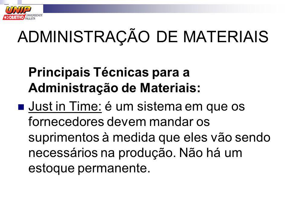 ADMINISTRAÇÃO DE MATERIAIS Principais Técnicas para a Administração de Materiais: Just in Time: é um sistema em que os fornecedores devem mandar os su