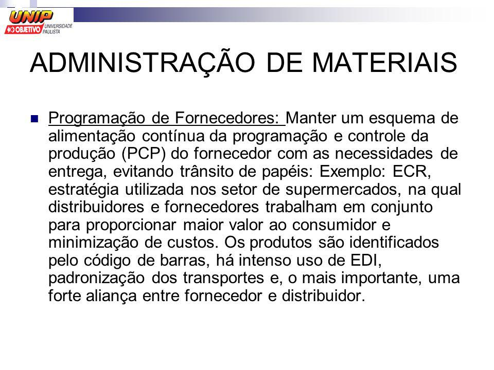 ADMINISTRAÇÃO DE MATERIAIS Programação de Fornecedores: Manter um esquema de alimentação contínua da programação e controle da produção (PCP) do forne