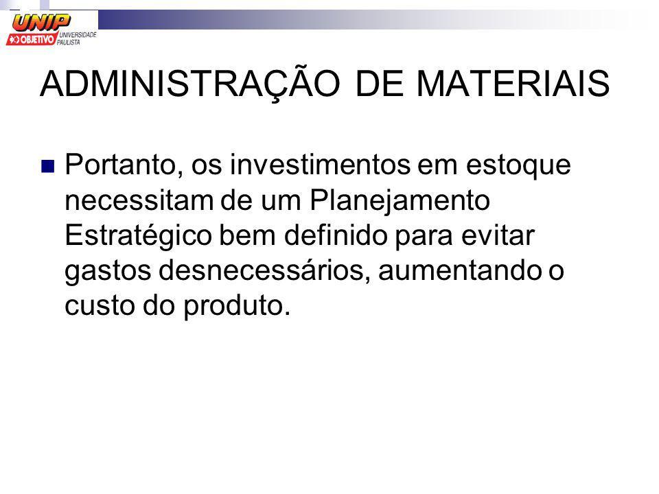 ADMINISTRAÇÃO DE MATERIAIS Portanto, os investimentos em estoque necessitam de um Planejamento Estratégico bem definido para evitar gastos desnecessár