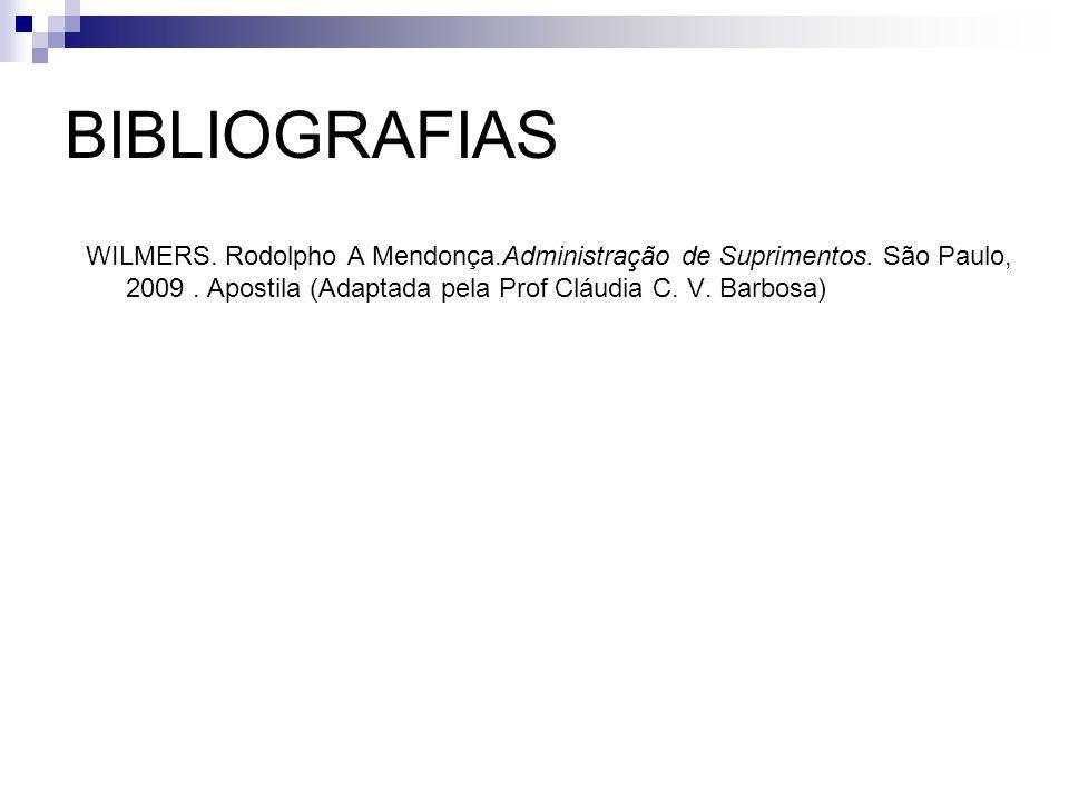 BIBLIOGRAFIAS WILMERS. Rodolpho A Mendonça.Administração de Suprimentos. São Paulo, 2009. Apostila (Adaptada pela Prof Cláudia C. V. Barbosa)