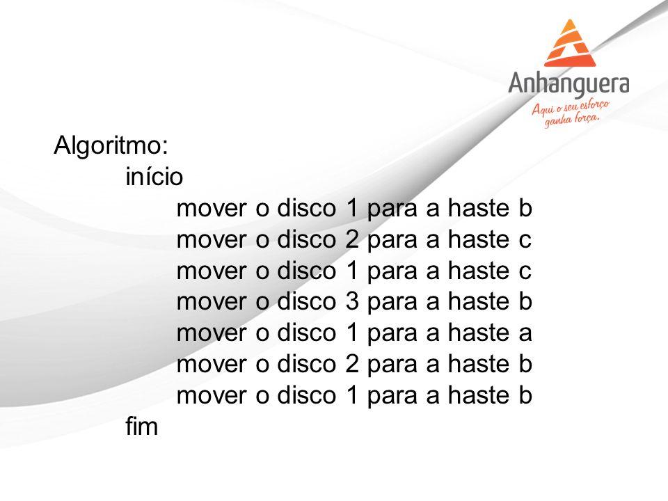 Algoritmo: início mover o disco 1 para a haste b mover o disco 2 para a haste c mover o disco 1 para a haste c mover o disco 3 para a haste b mover o