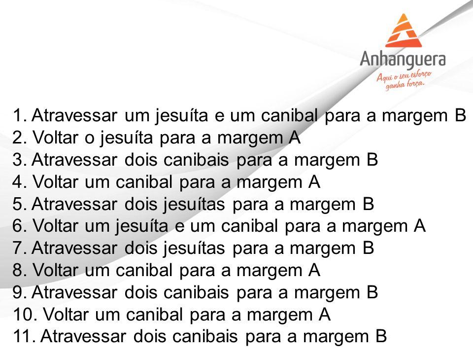 1. Atravessar um jesuíta e um canibal para a margem B 2. Voltar o jesuíta para a margem A 3. Atravessar dois canibais para a margem B 4. Voltar um can