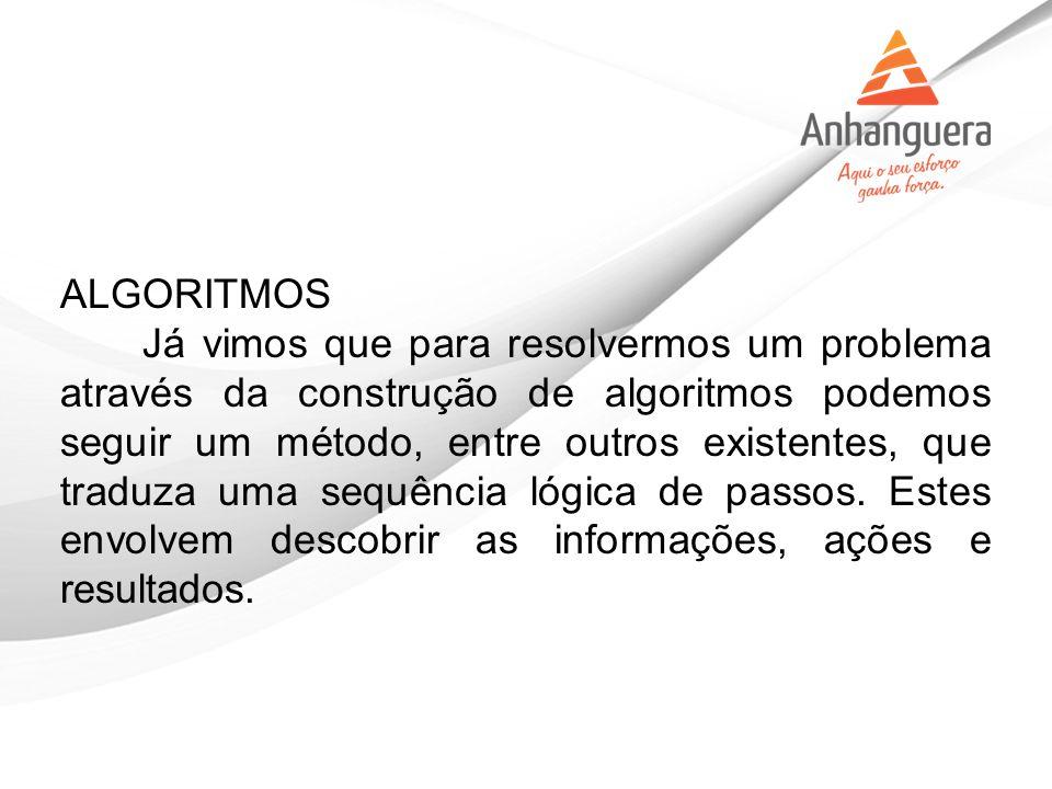 ALGORITMOS Já vimos que para resolvermos um problema através da construção de algoritmos podemos seguir um método, entre outros existentes, que traduz
