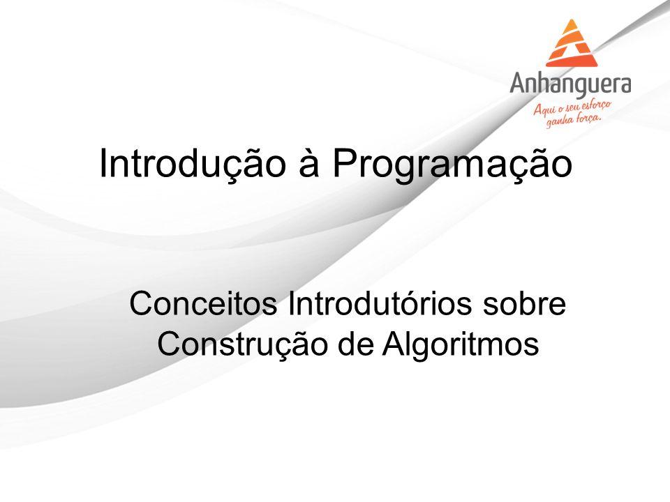 Introdução à Programação Conceitos Introdutórios sobre Construção de Algoritmos