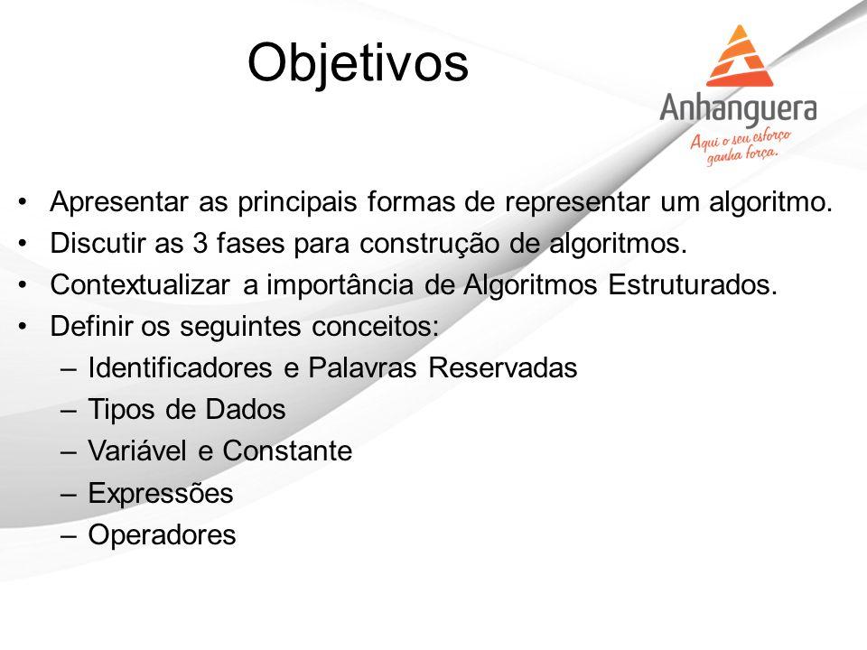 Apresentar as principais formas de representar um algoritmo. Discutir as 3 fases para construção de algoritmos. Contextualizar a importância de Algori
