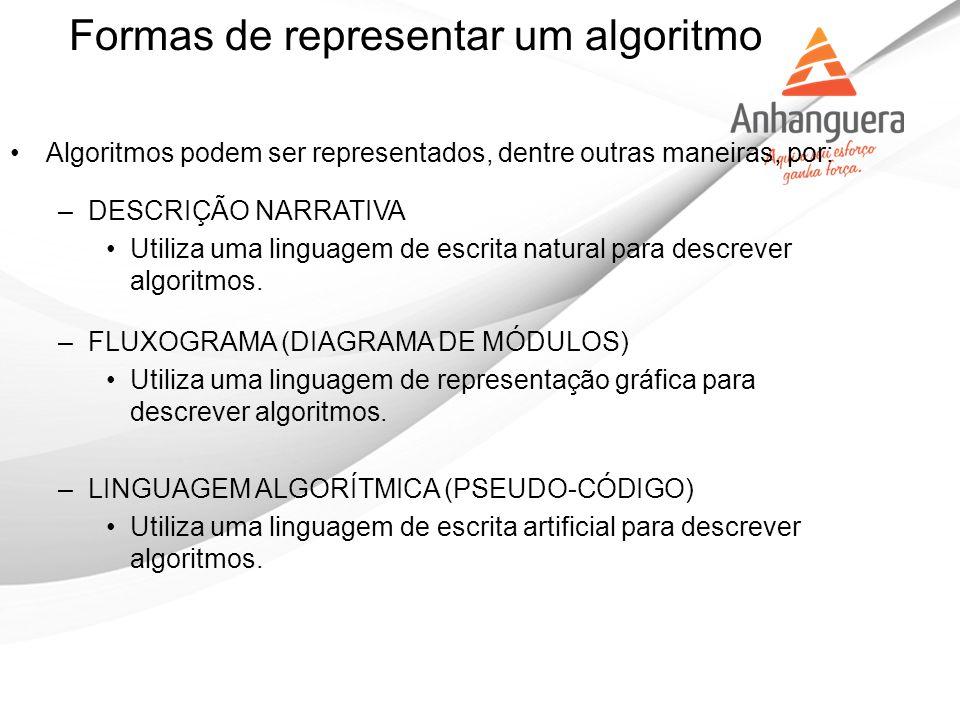 Algoritmos podem ser representados, dentre outras maneiras, por: –DESCRIÇÃO NARRATIVA Utiliza uma linguagem de escrita natural para descrever algoritm