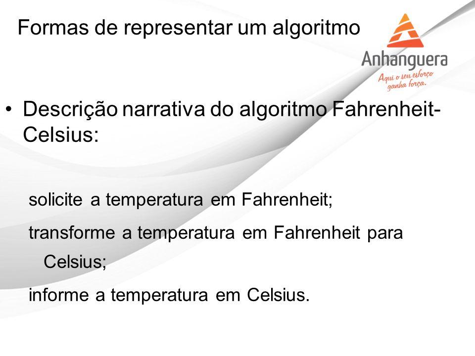 Descrição narrativa do algoritmo Fahrenheit- Celsius: solicite a temperatura em Fahrenheit; transforme a temperatura em Fahrenheit para Celsius; infor