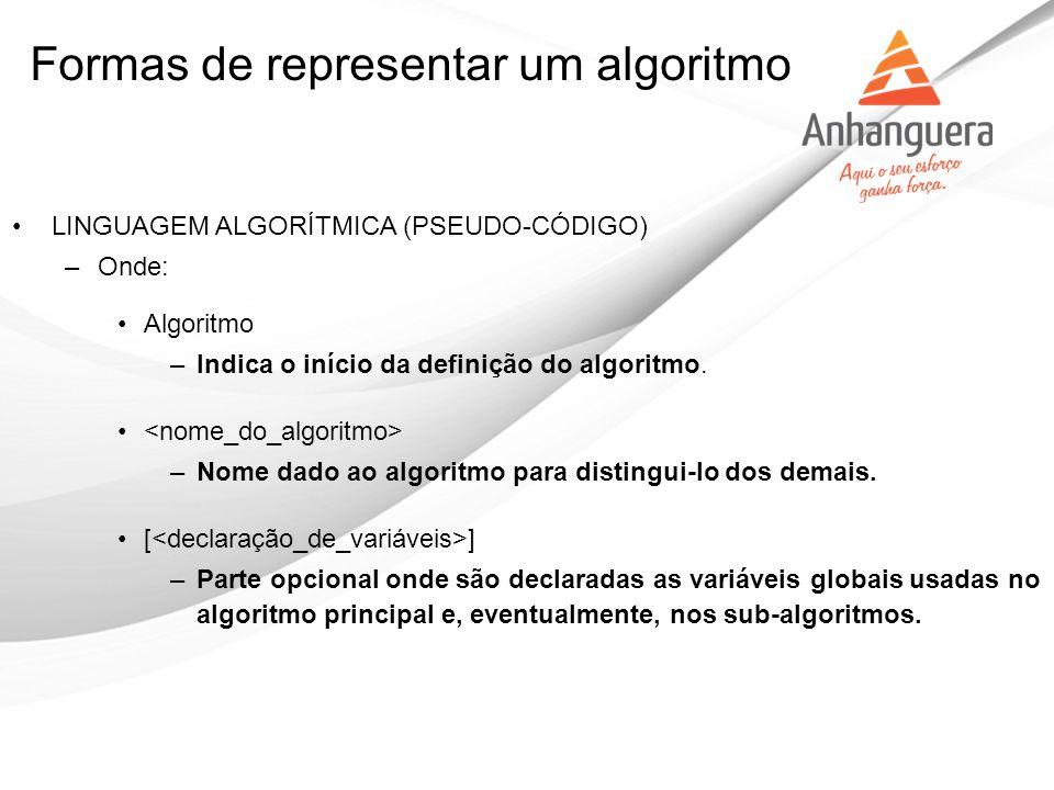 Formas de representar um algoritmo LINGUAGEM ALGORÍTMICA (PSEUDO-CÓDIGO) –Onde: Algoritmo –Indica o início da definição do algoritmo. –Nome dado ao al