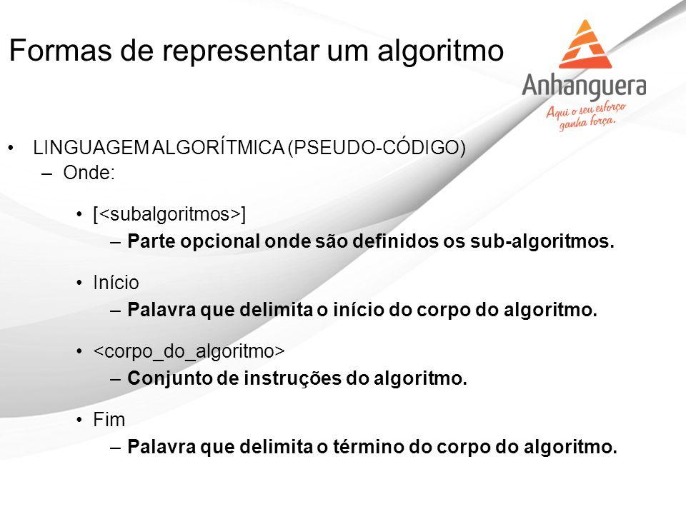 Formas de representar um algoritmo LINGUAGEM ALGORÍTMICA (PSEUDO-CÓDIGO) –Onde: [ ] –Parte opcional onde são definidos os sub-algoritmos. Início –Pala