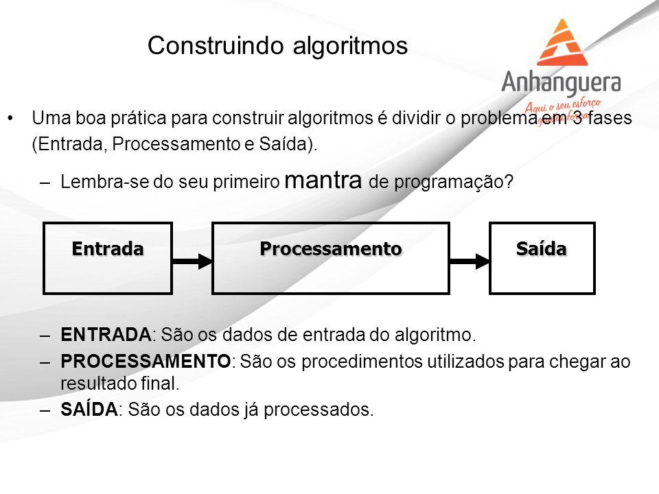 Construindo algoritmos Uma boa prática para construir algoritmos é dividir o problema em 3 fases (Entrada, Processamento e Saída). –Lembra-se do seu p