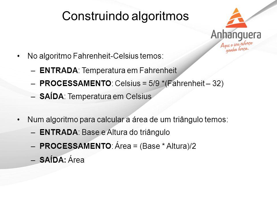 Construindo algoritmos No algoritmo Fahrenheit-Celsius temos: –ENTRADA: Temperatura em Fahrenheit –PROCESSAMENTO: Celsius = 5/9 *(Fahrenheit – 32) –SA