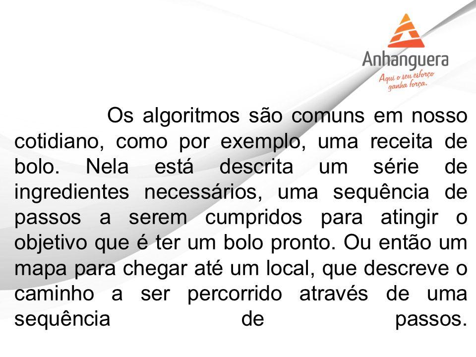Apresentar as principais formas de representar um algoritmo.