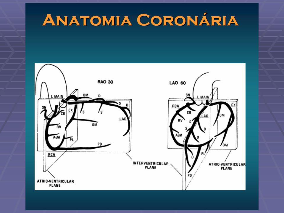 Padrões de Circulação Coronária Dominância direita (70-85%) - coronária direita estende-se além do cruxcordis e dá origem aos ramos e descendente posterior e ventricular posterior Dominância esquerda (8-15%) - os ramos DP e VP originam-se da porção distal da artéria circunflexa Co-dominância ou padrão balanceado (~7%) - a coronária direita dá origem ao ramo descendente posterior e a circunflexa aos ramos ventriculares posteriores (e, eventualmente, a outro ramo DP)